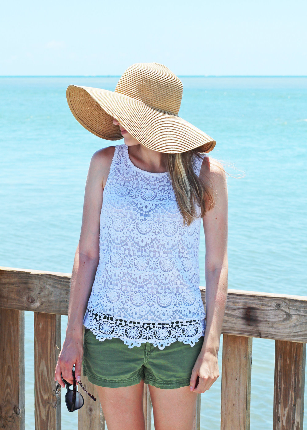 Sun hat outfit with white lace top and green shorts — Cotton Cashmere Cat Hair