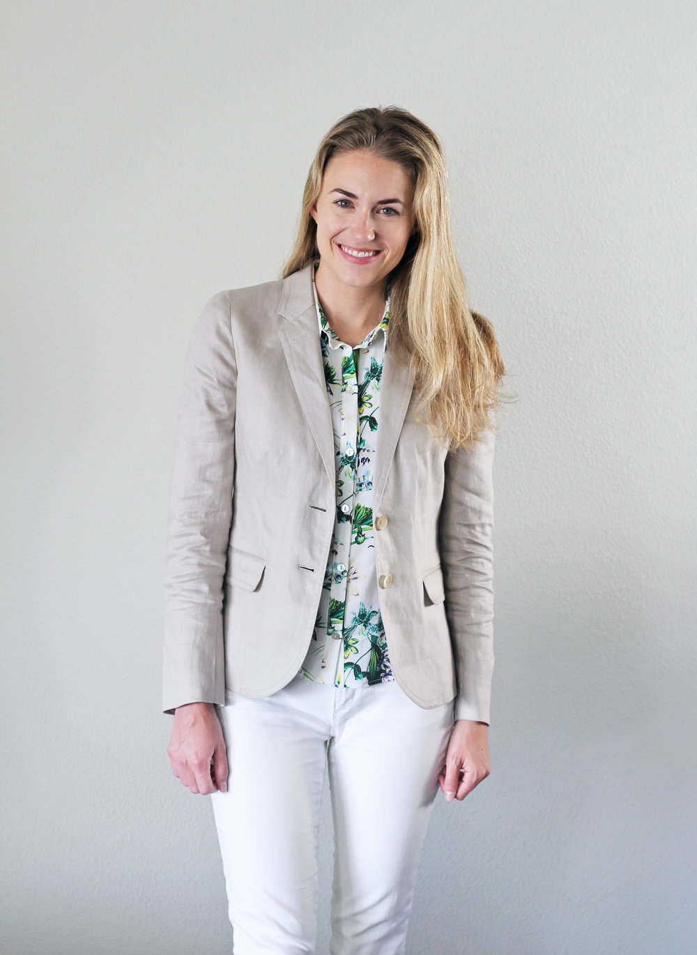 Linen blazer outfit for work — Cotton Cashmere Cat Hair