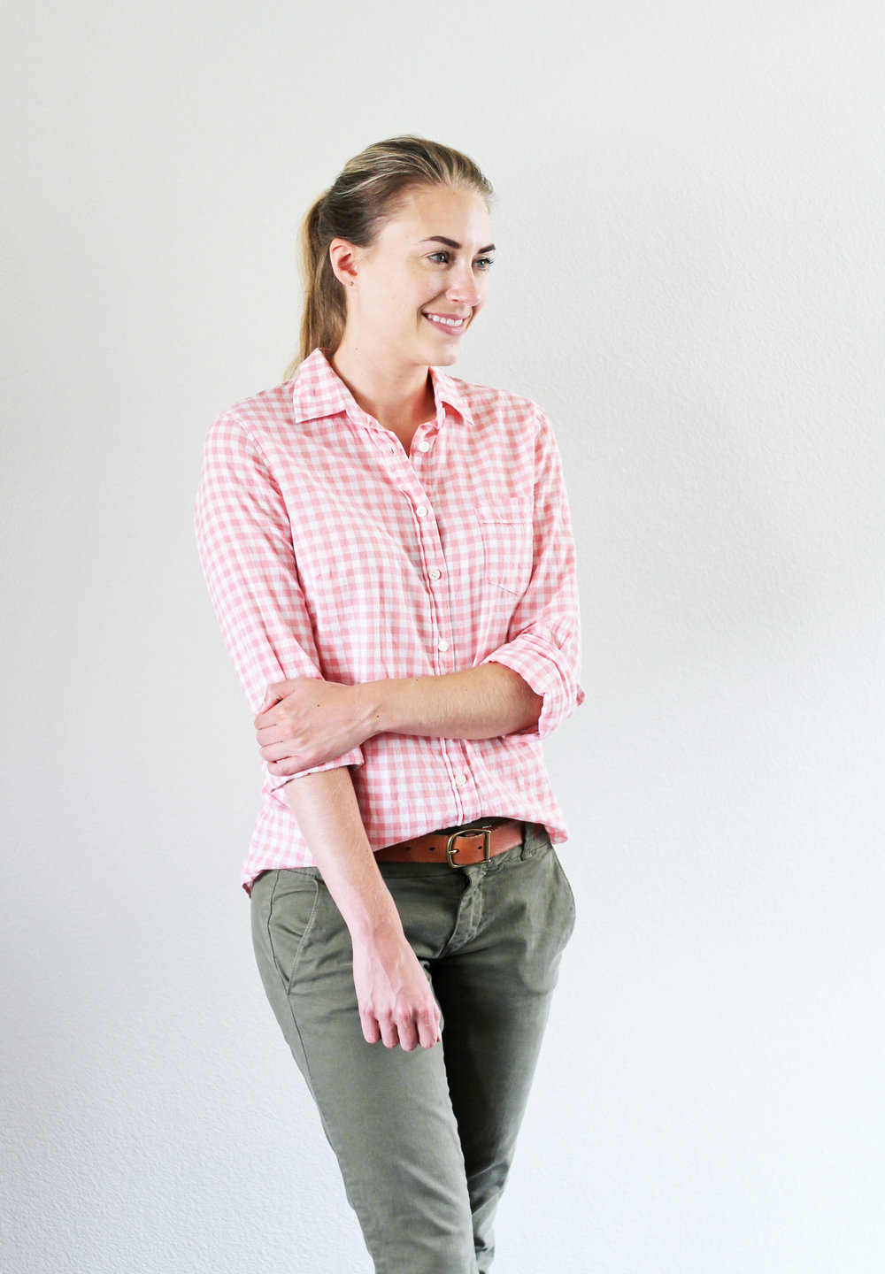 Pink gingham shirt outfit with army green chino pants — Cotton Cashmere Cat Hair