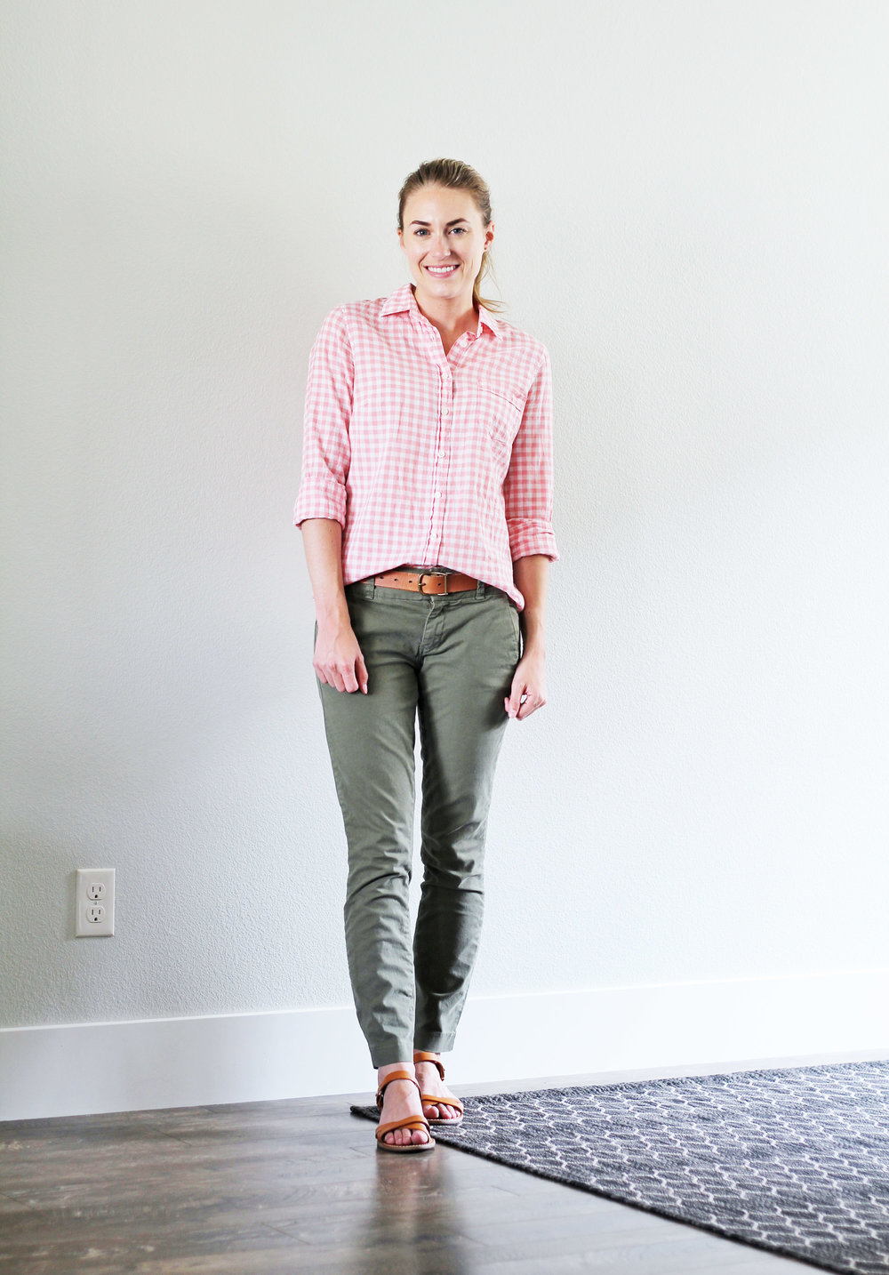 Work outfit with pink gingham shirt and green chinos — Cotton Cashmere Cat Hair
