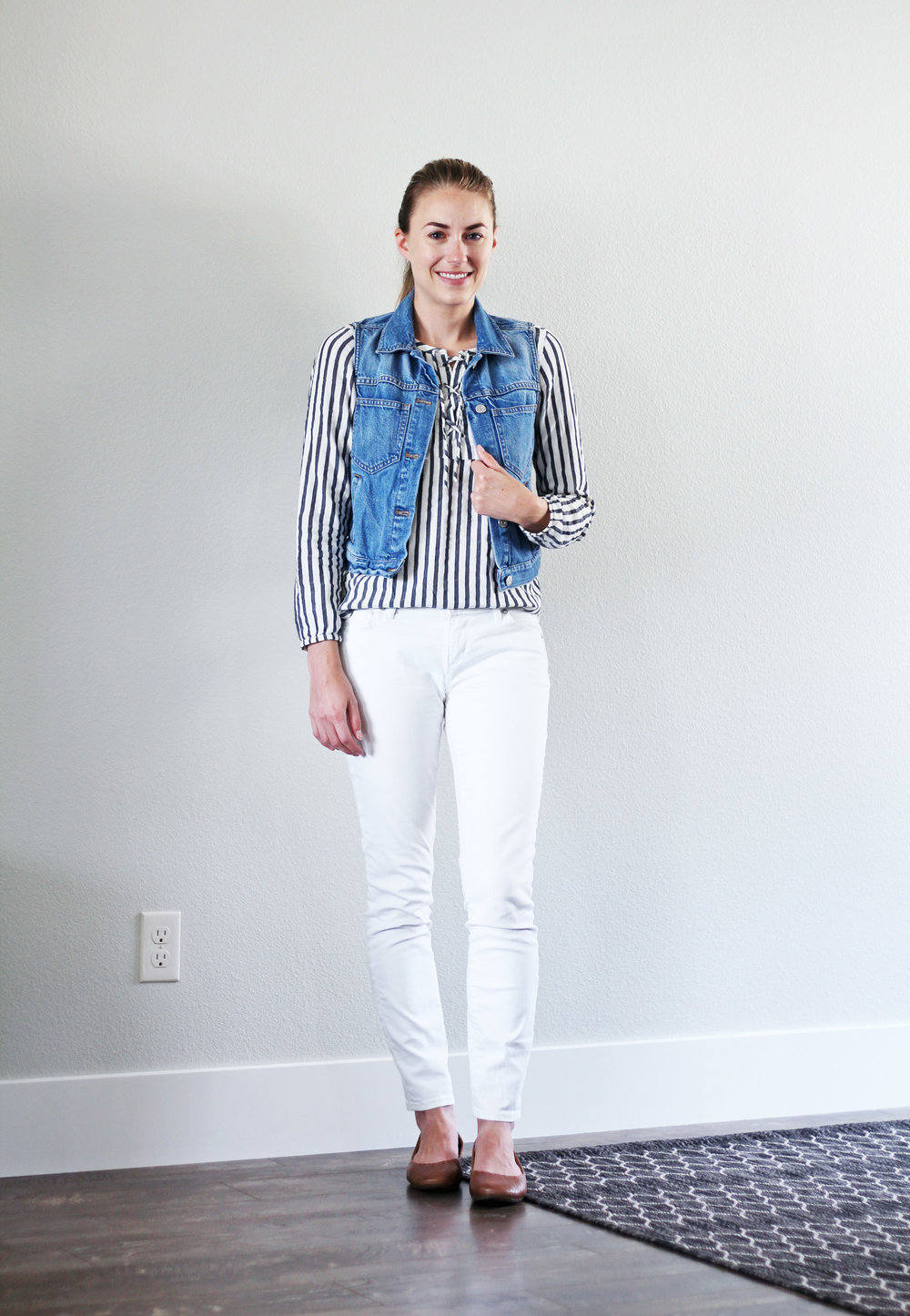 White denim outfit with striped top and blue denim vest — Cotton Cashmere Cat Hair
