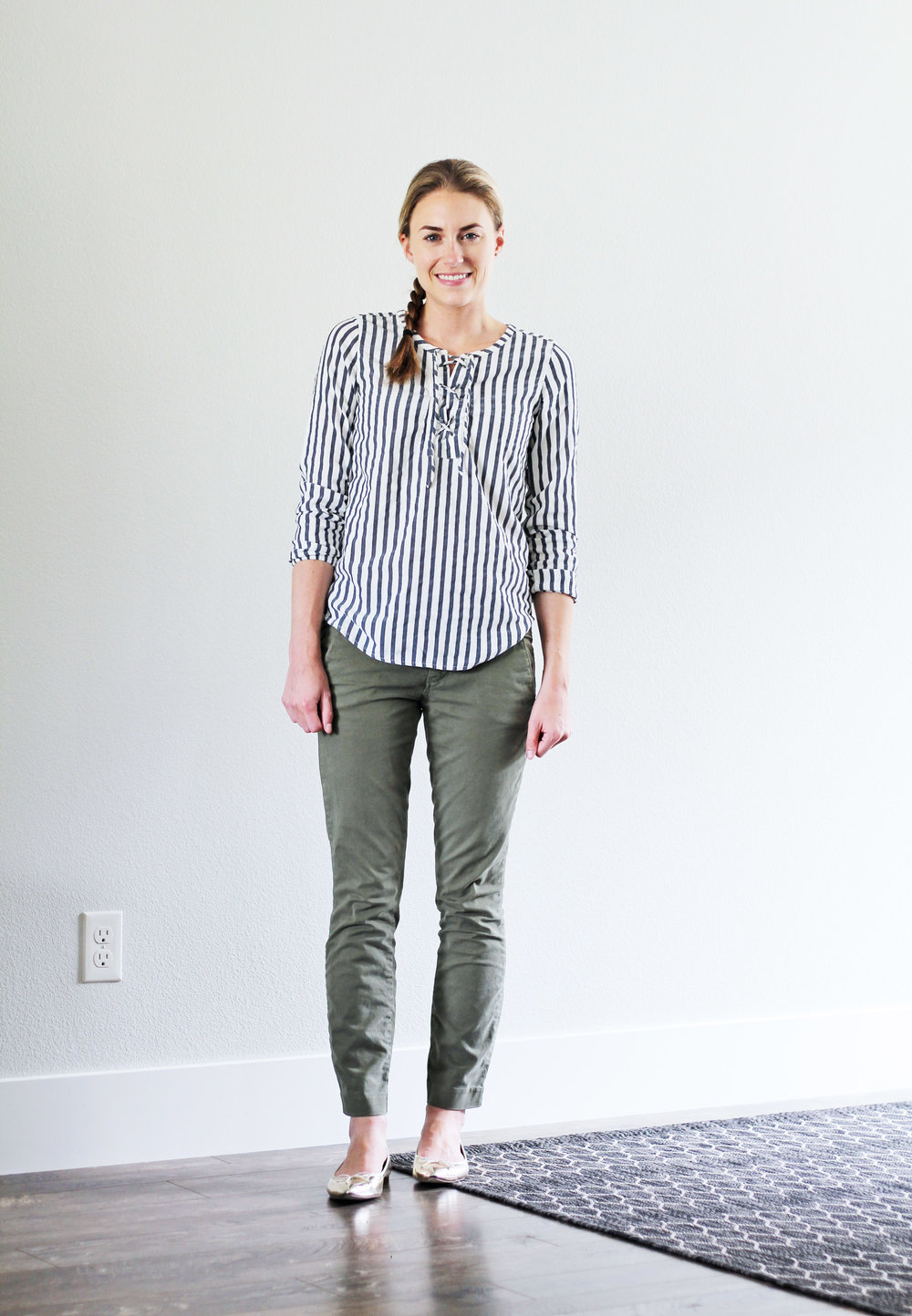 Striped lace-up top outfit with green chino pants — Cotton Cashmere Cat Hair