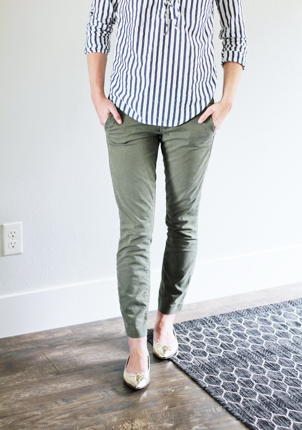 Army green chino pants work outfit with gold flats — Cotton Cashmere Cat Hair
