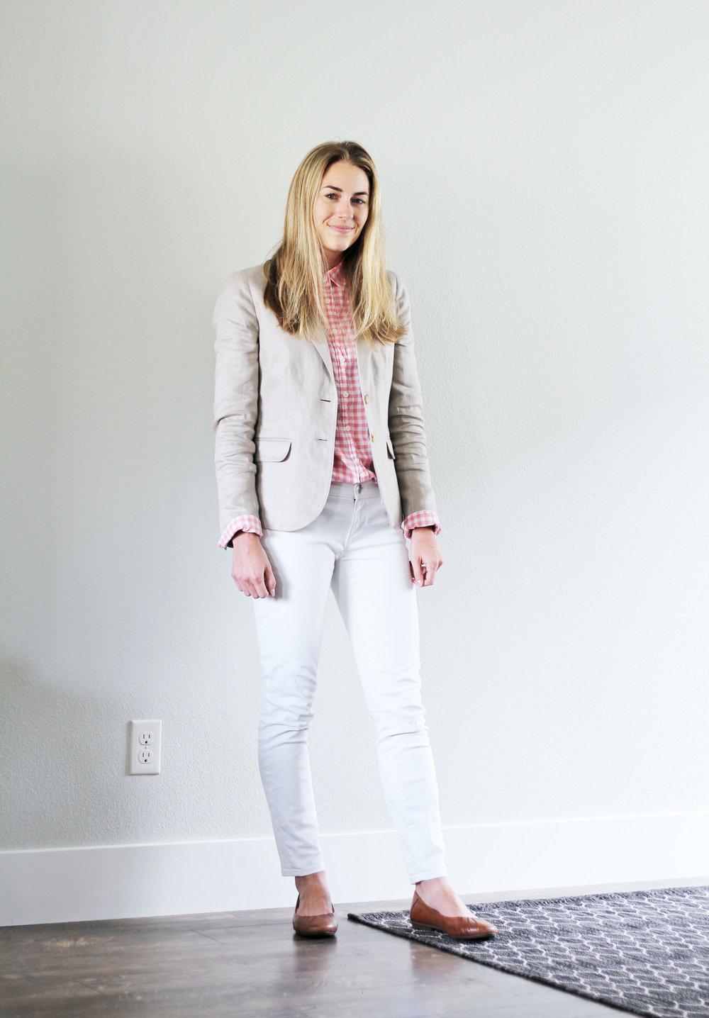 Linen blazer summer work outfit — Cotton Cashmere Cat Hair