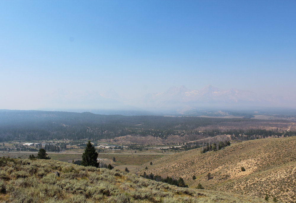 Smoky Sawtooth mountains after the total eclipse (sun about 50% obscured; notice the lower smoke level)