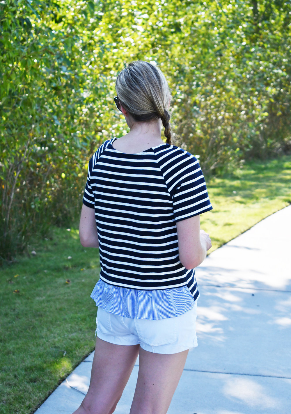 Amour Vert 'Annette' navy striped top outfit — Cotton Cashmere Cat Hair