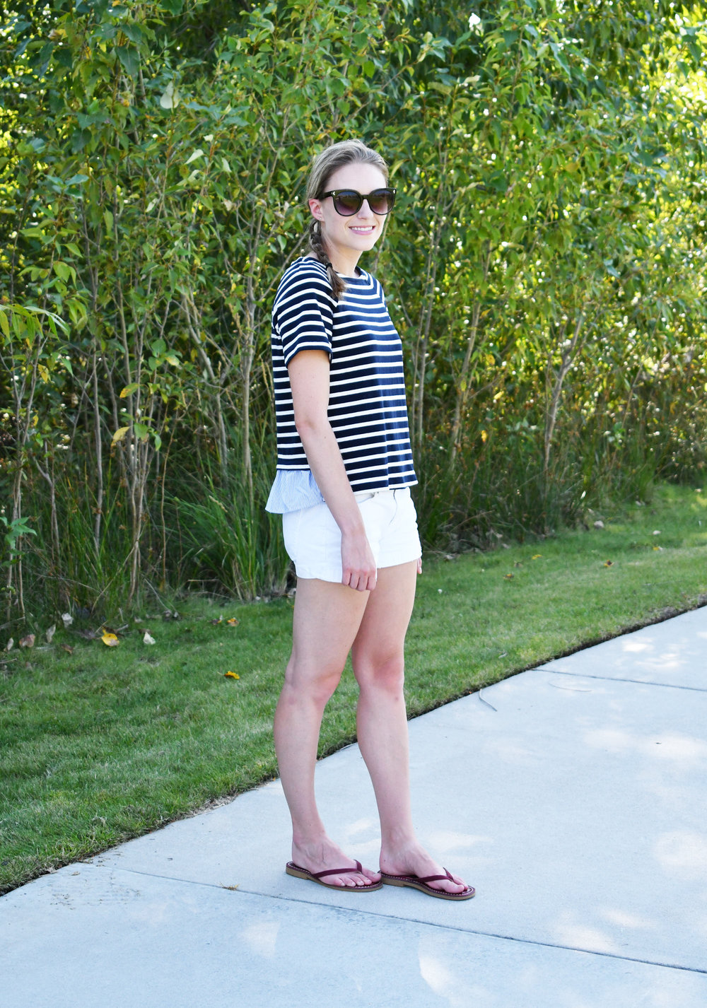 Navy striped top outfit with white shorts and red sandals — Cotton Cashmere Cat Hair