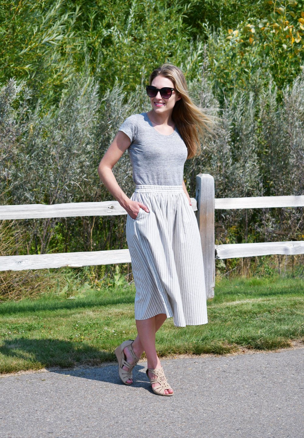 Striped midi skirt work outfit with grey linen tee — Cotton Cashmere Cat Hair