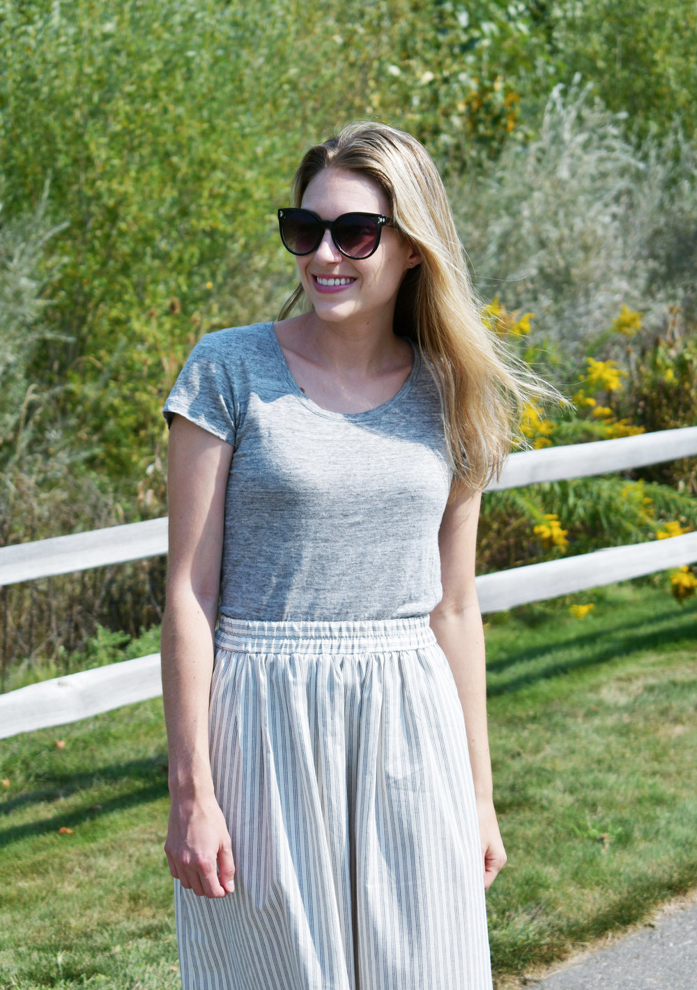 Grey linen tee outfit with striped midi skirt — Cotton Cashmere Cat Hair