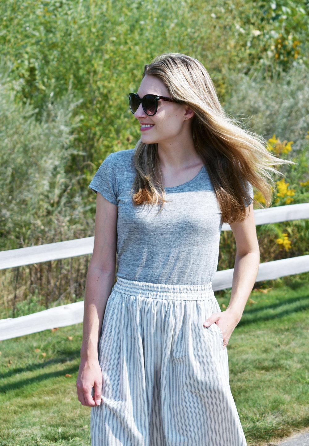 Everlane linen tee + Amour Vert 'Greta' skirt — Cotton Cashmere Cat Hair