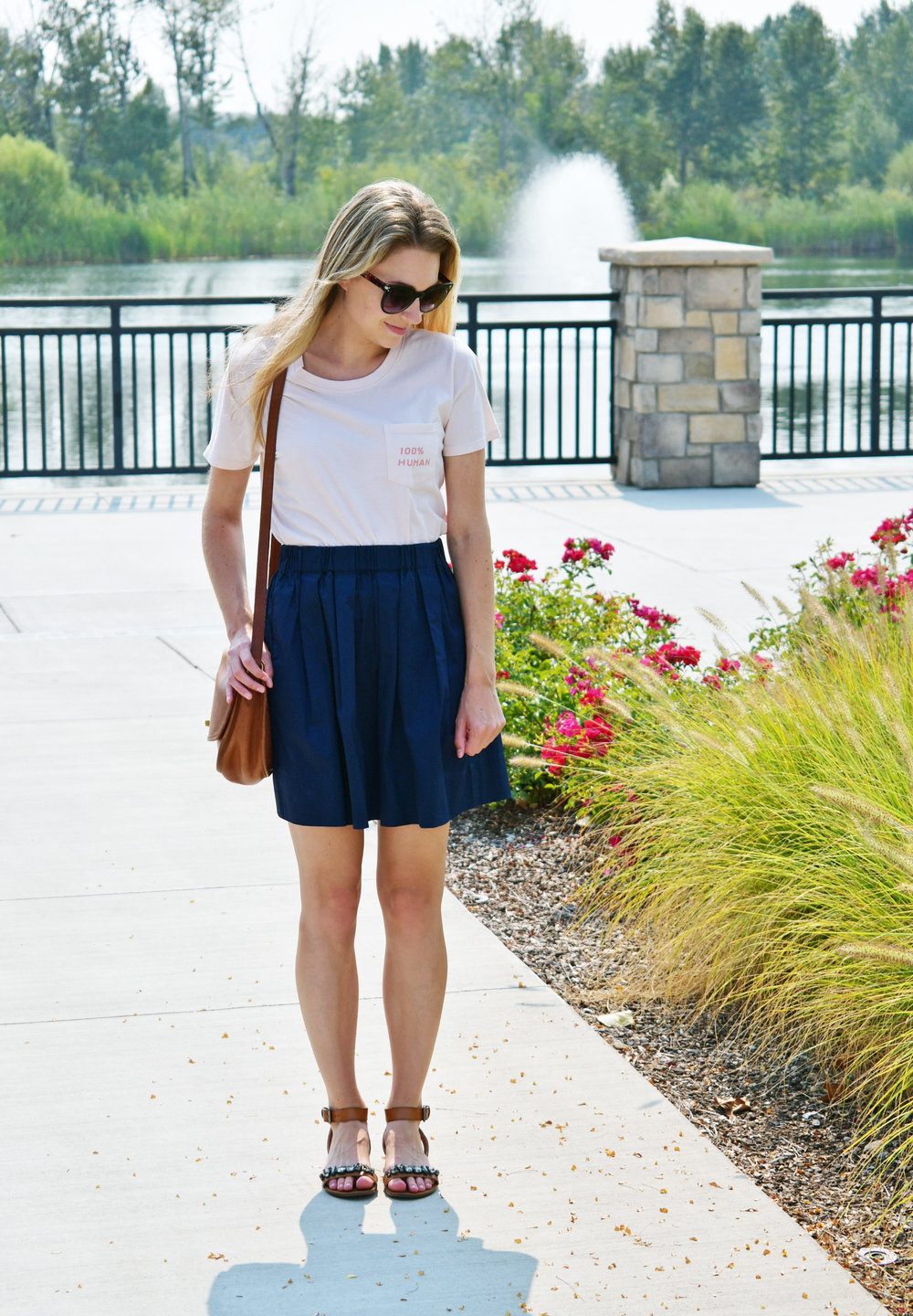 Everlane human woman tee outfit with navy skirt — Cotton Cashmere Cat Hair