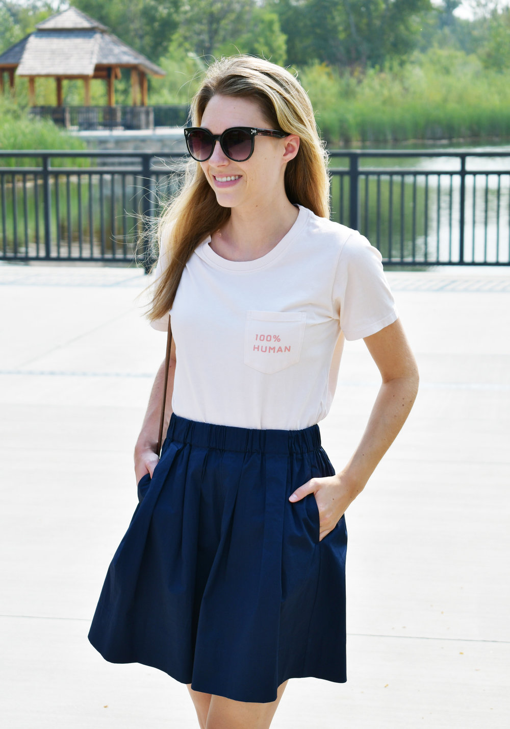 Navy cotton poplin skirt outfit with 100% human tee — Cotton Cashmere Cat Hair