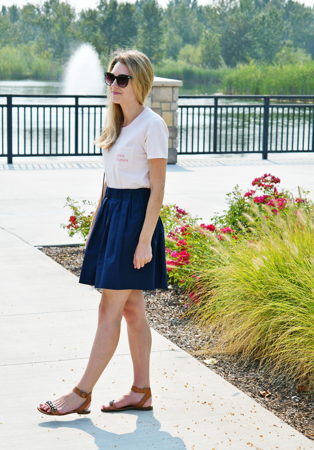Light pink 100% human tee outfit with navy skirt — Cotton Cashmere Cat Hair