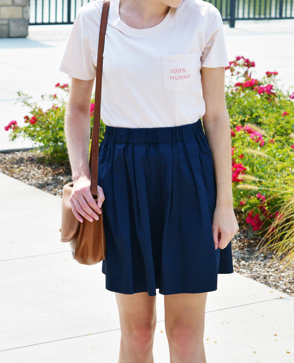 Human woman tee outfit with navy cotton-poplin skirt — Cotton Cashmere Cat Hair