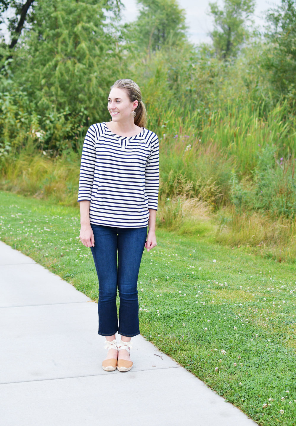 Navy striped sweatshirt, cropped flare jeans, tan espadrilles — Cotton Cashmere Cat Hair