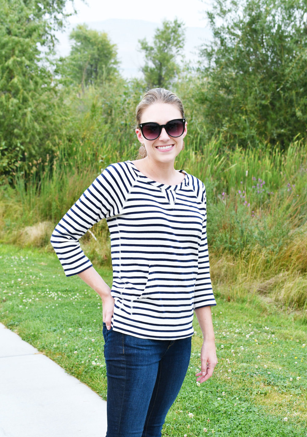 Navy striped sweatshirt late summer work outfit — Cotton Cashmere Cat Hair