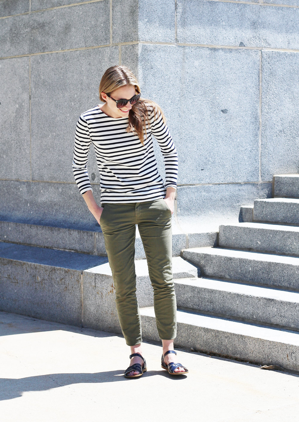 Outfit outtake: Stripes on steps — Cotton Cashmere Cat Hair
