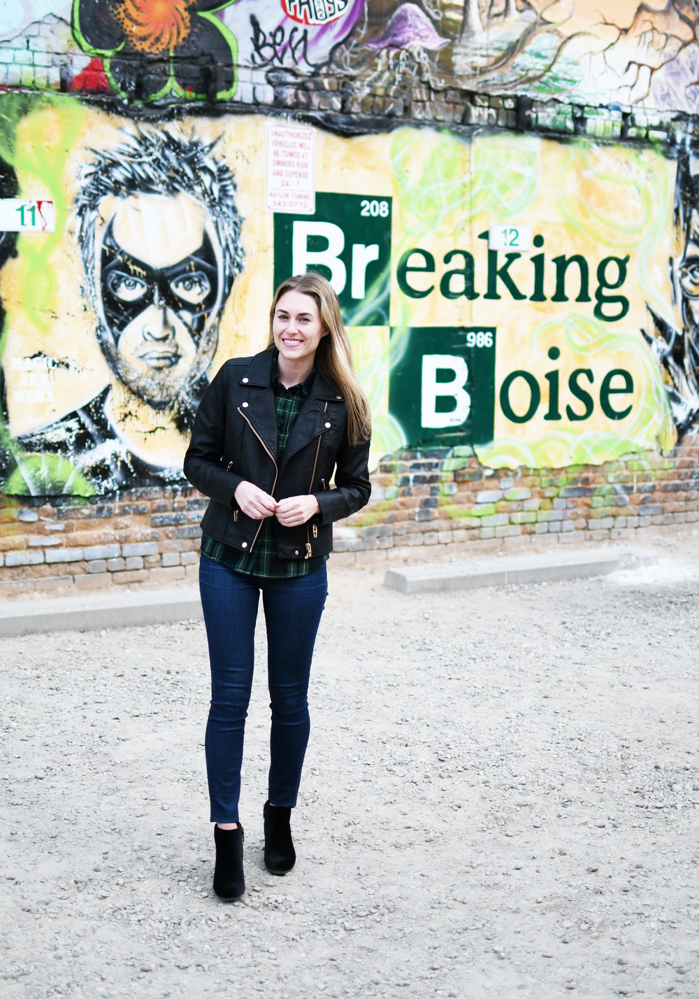 Black leather jacket outfit in Freak Alley, Boise — Cotton Cashmere Cat Hair