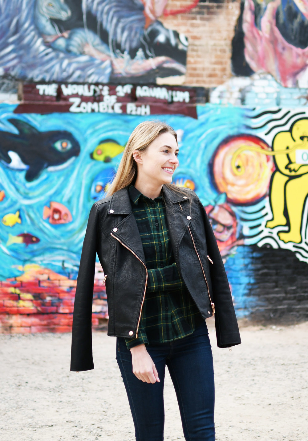Blank NYC faux leather jacket outfit with Madewell flannel shirt — Cotton Cashmere Cat Hair