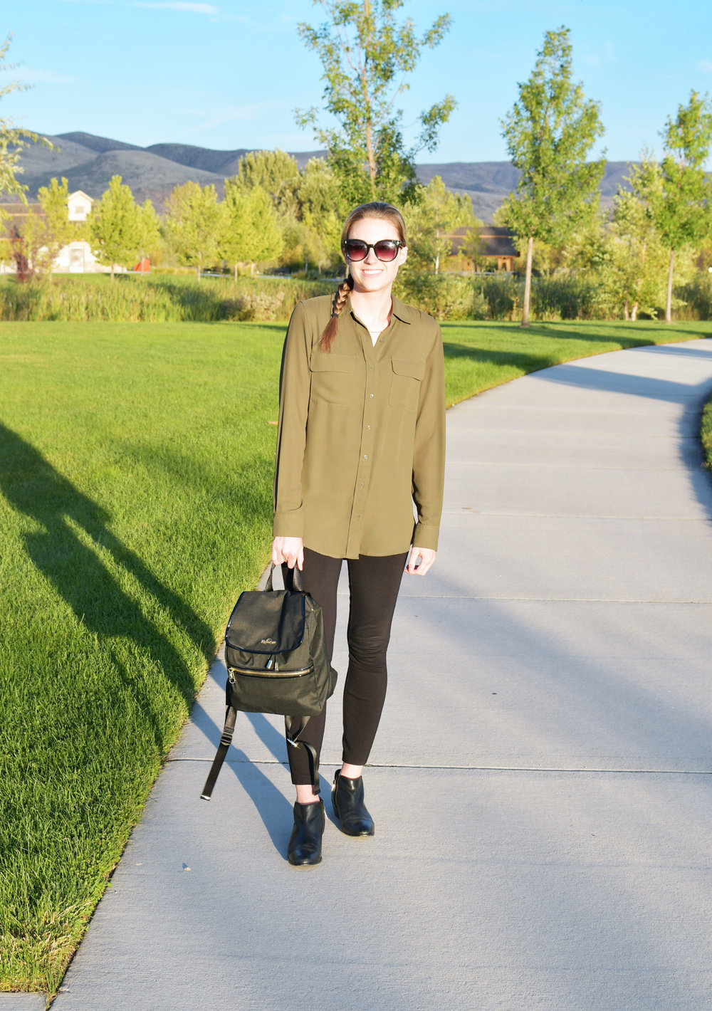 Fall work outfit with olive green shirt and black ponte pants — Cotton Cashmere Cat Hair