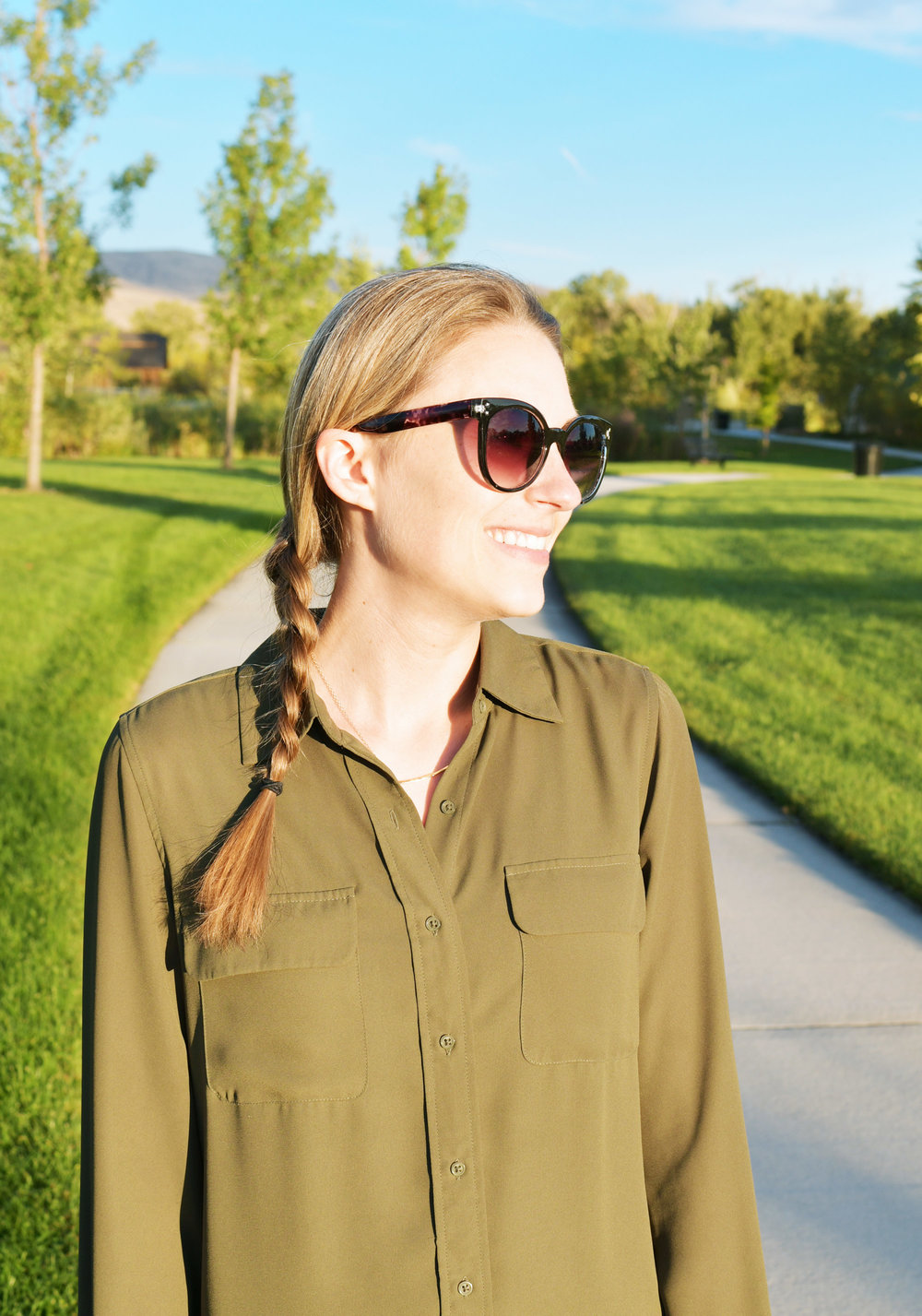 Gorjana 'Taner' bar necklace with olive green shirt — Cotton Cashmere Cat Hair