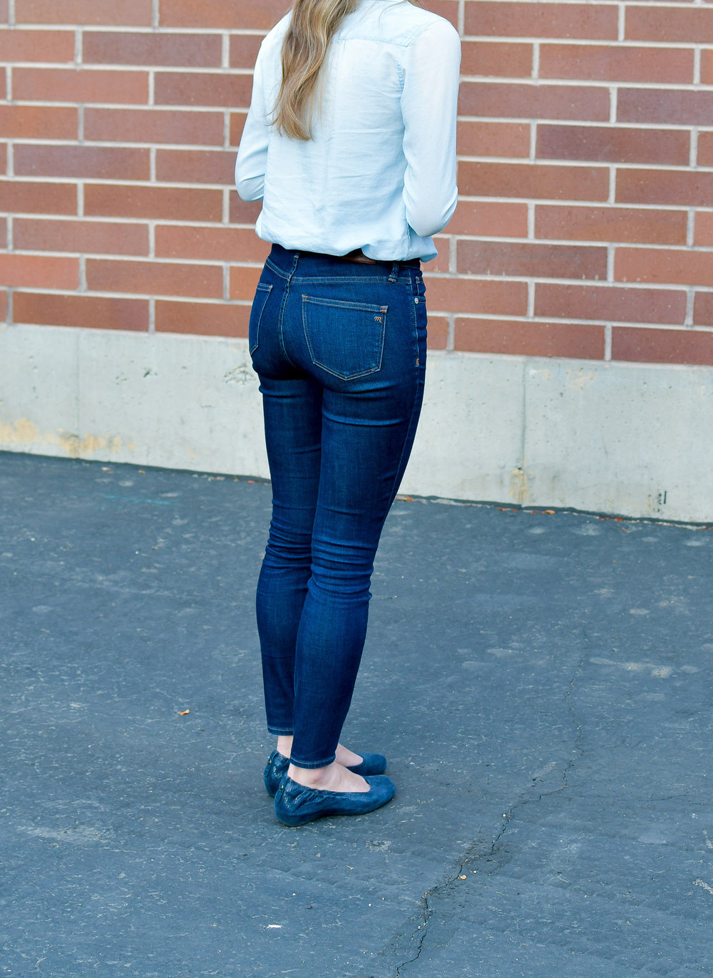 Madewell high-rise skinny jeans outfit — Cotton Cashmere Cat Hair