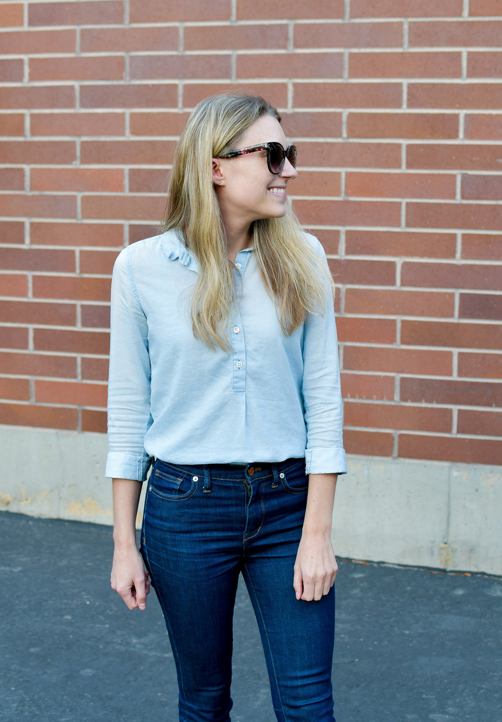 Chambray shirt fall outfit with high-rise skinny jeans — Cotton Cashmere Cat Hair