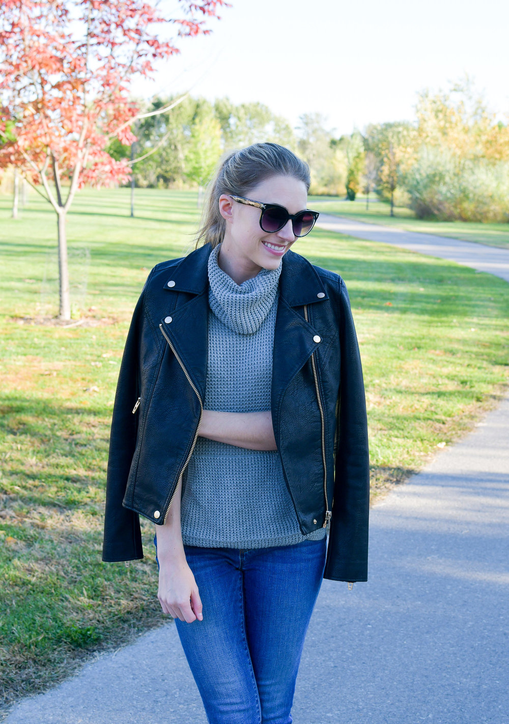Sleeveless sweater fall outfit with leather jacket — Cotton Cashmere Cat Hair