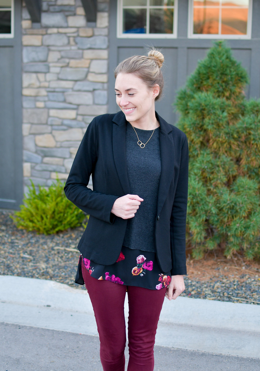 Black blazer business trip outfit — Cotton Cashmere Cat Hair