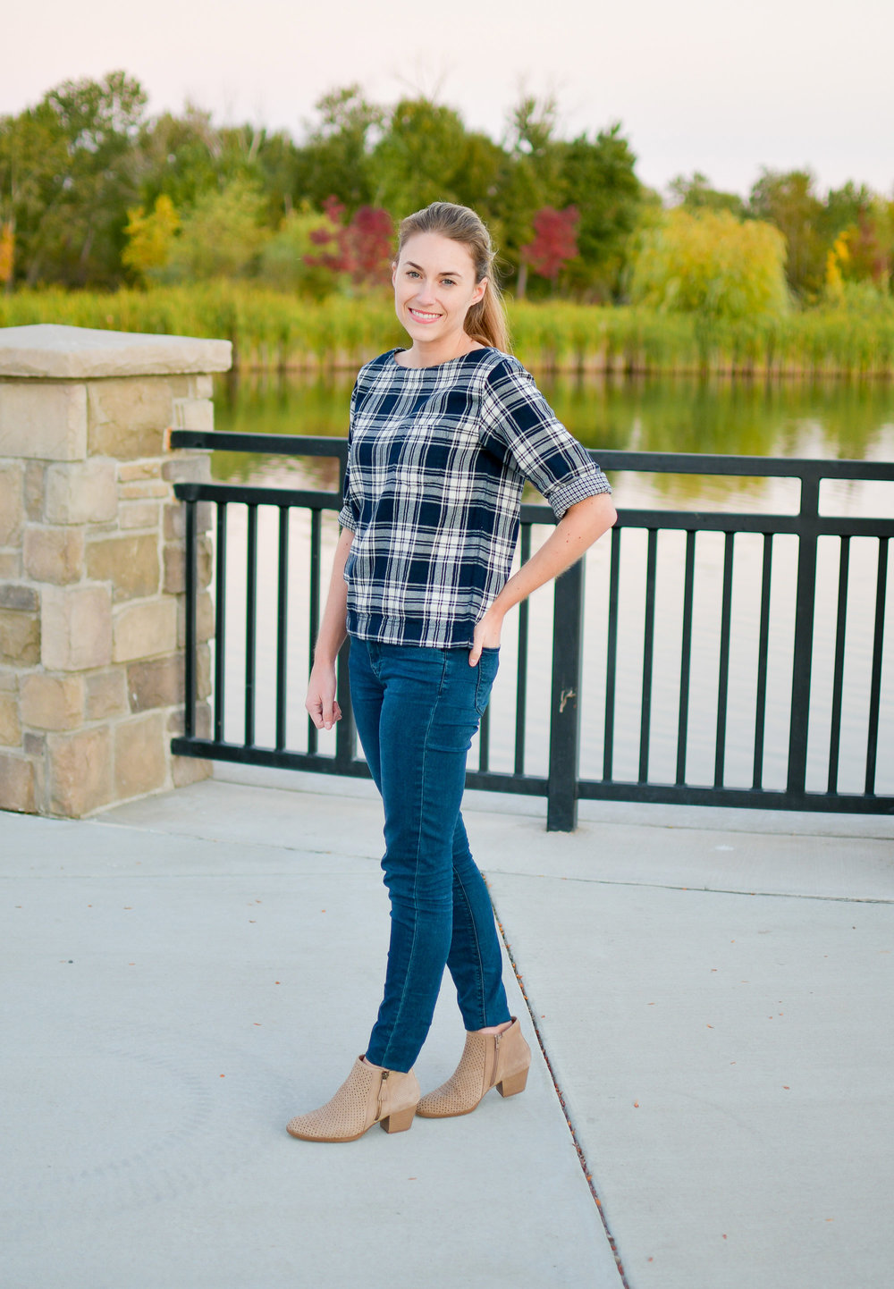 Fall outfit with plaid top and taupe ankle boots — Cotton Cashmere Cat Hair