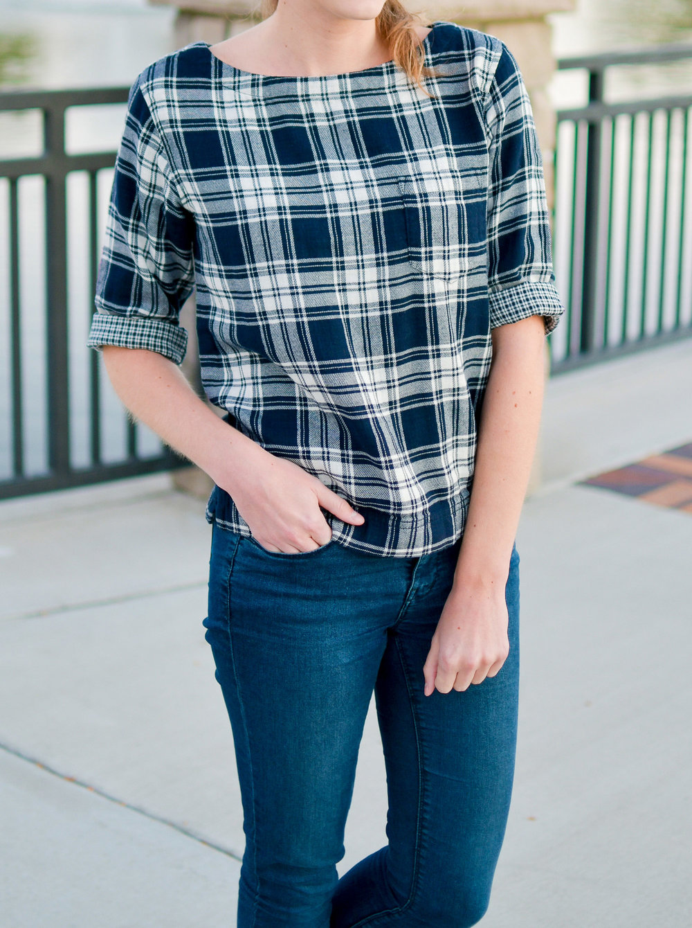 Madewell Herald Tee in Curtis Plaid — Cotton Cashmere Cat Hair