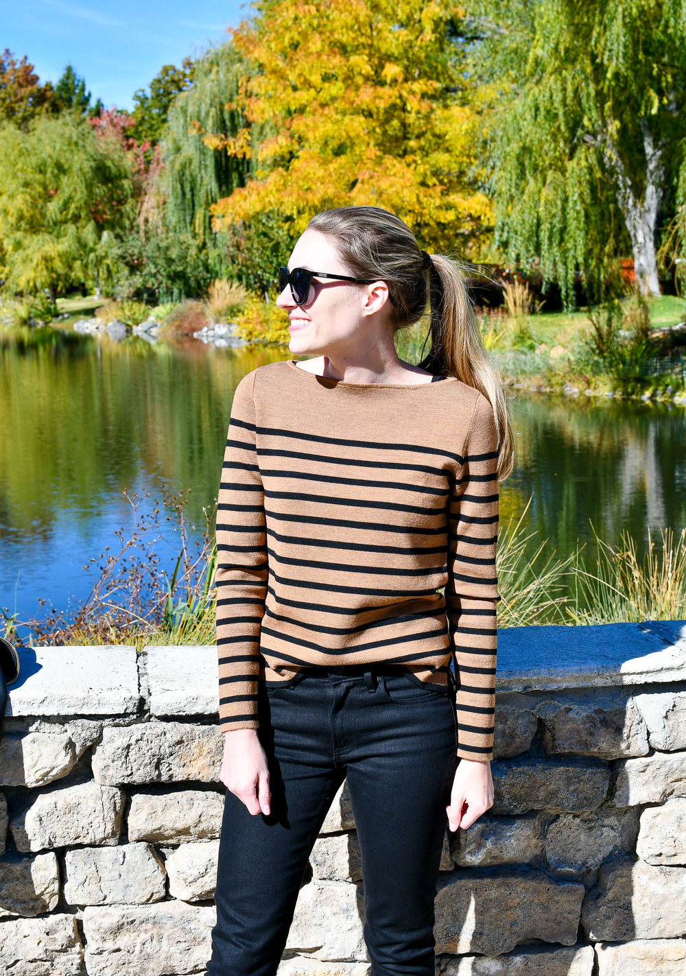 Camel bateau striped sweater outfit — Cotton Cashmere Cat Hair