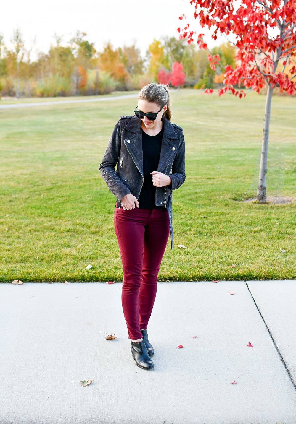 Fall outfit with charcoal suede jacket and burgundy pants — Cotton Cashmere Cat Hair