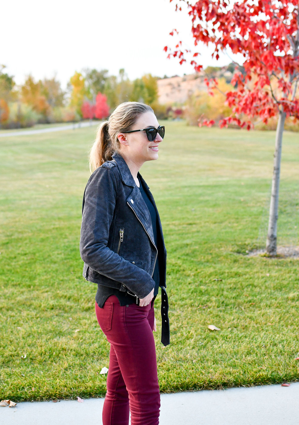 Idaho style blog outfit with suede jacket — Cotton Cashmere Cat Hair