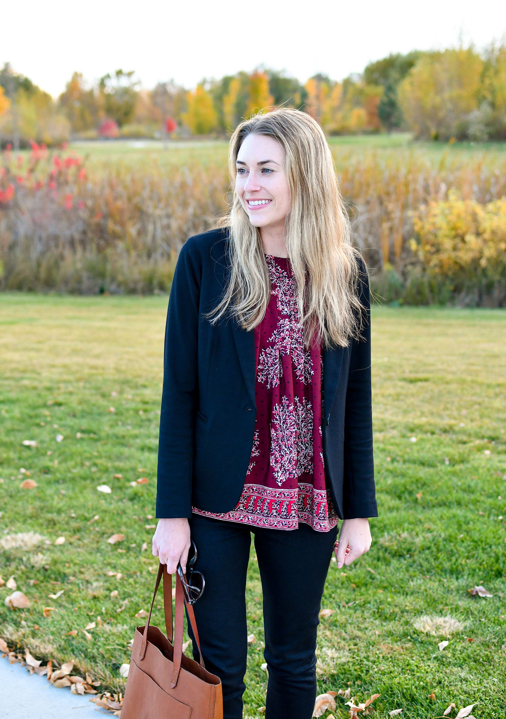 Black blazer outfit with printed silk top — Cotton Cashmere Cat Hair