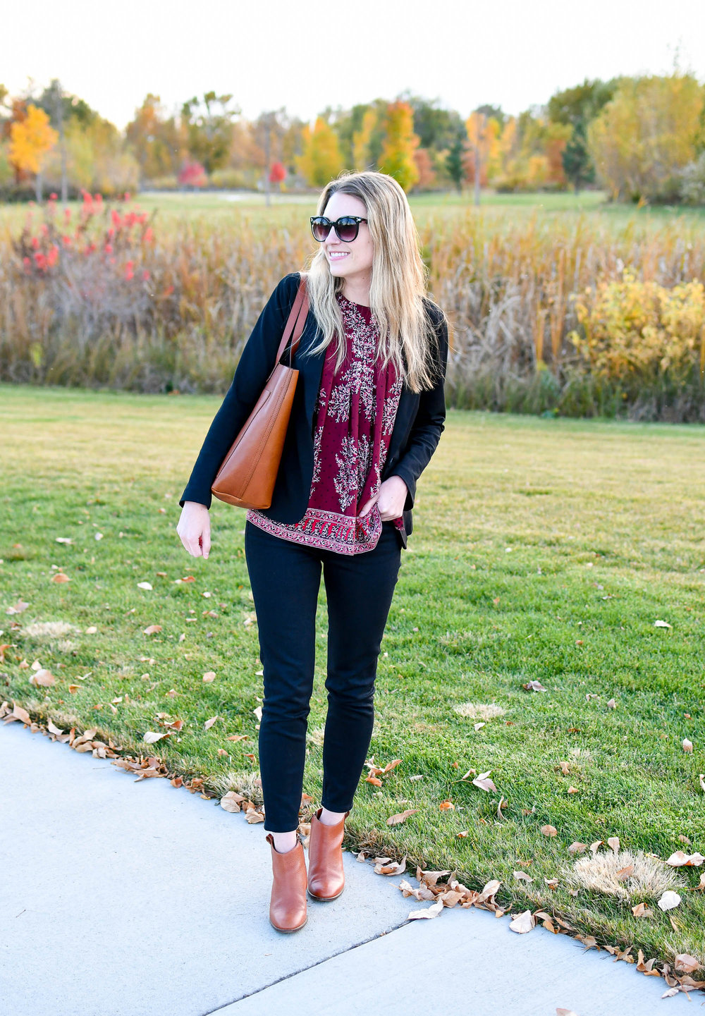 Fall work outfit with Madewell transport tote — Cotton Cashmere Cat Hair