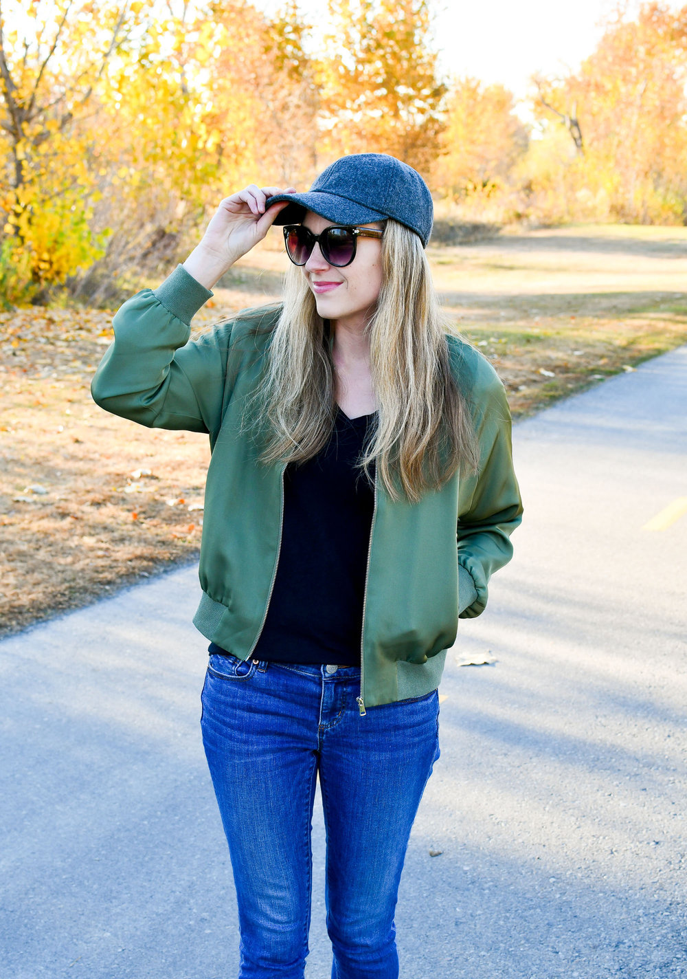 Olive green silk bomber jacket outfit — Cotton Cashmere Cat Hair