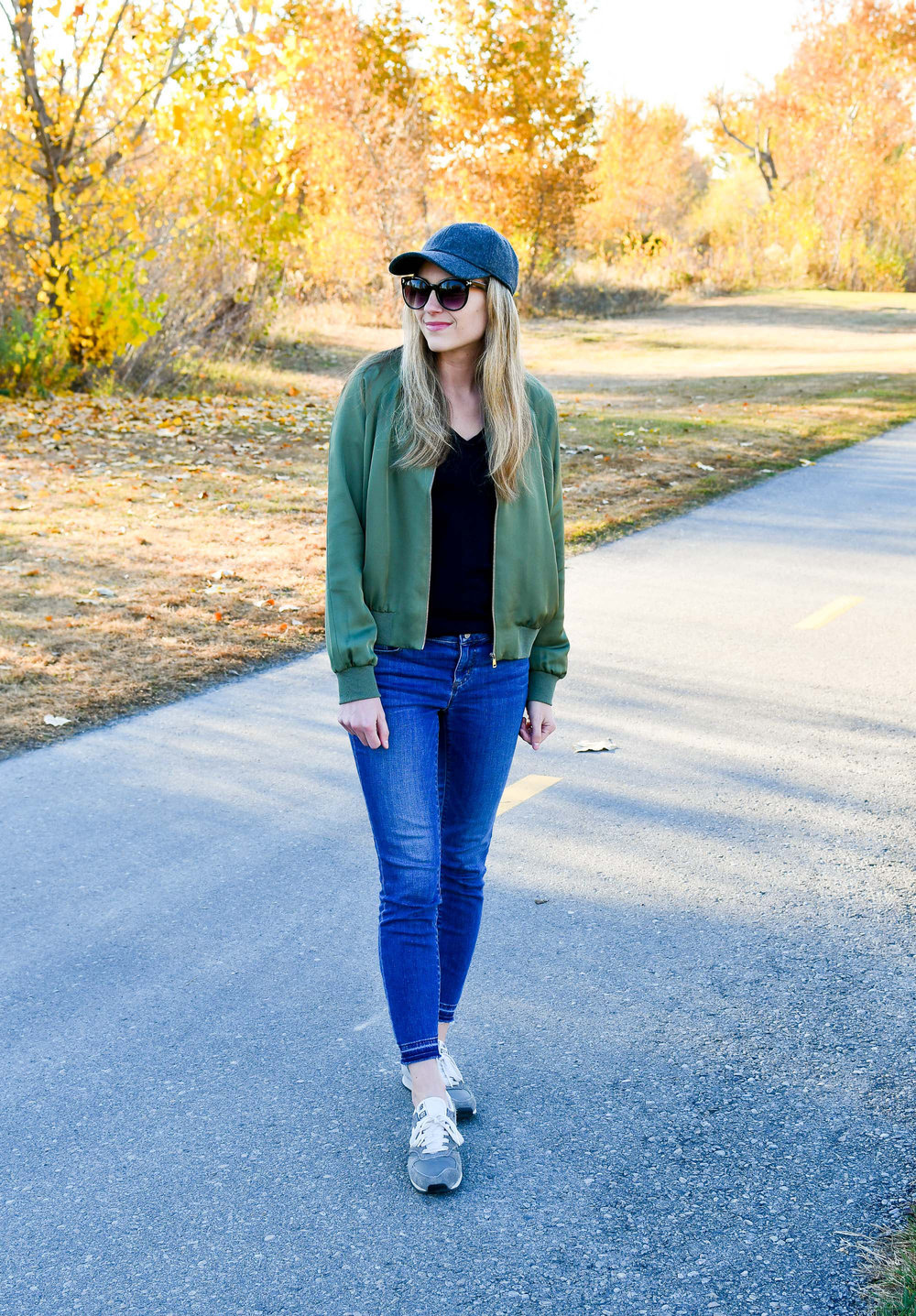 Fall outfit with silk bomber jacket and sneakers — Cotton Cashmere Cat Hair