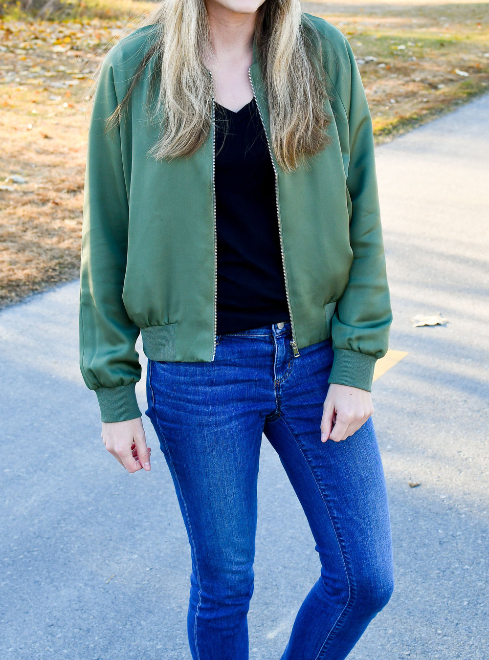 Grana silk bomber jacket fall outfit — Cotton Cashmere Cat Hair