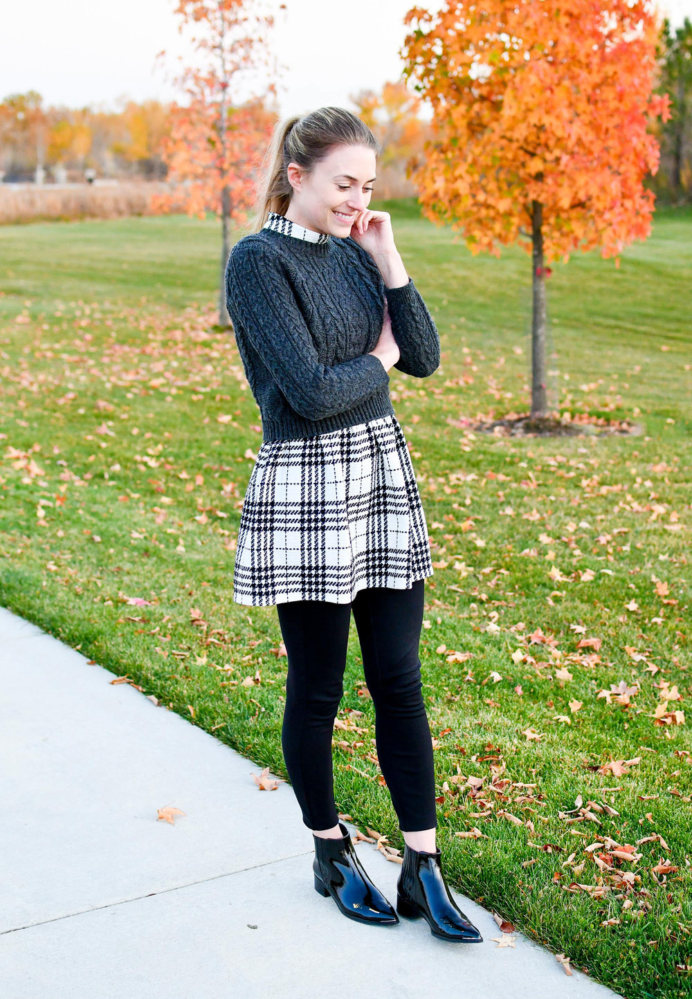 Cropped sweater fall outfit with plaid dress — Cotton Cashmere Cat Hair