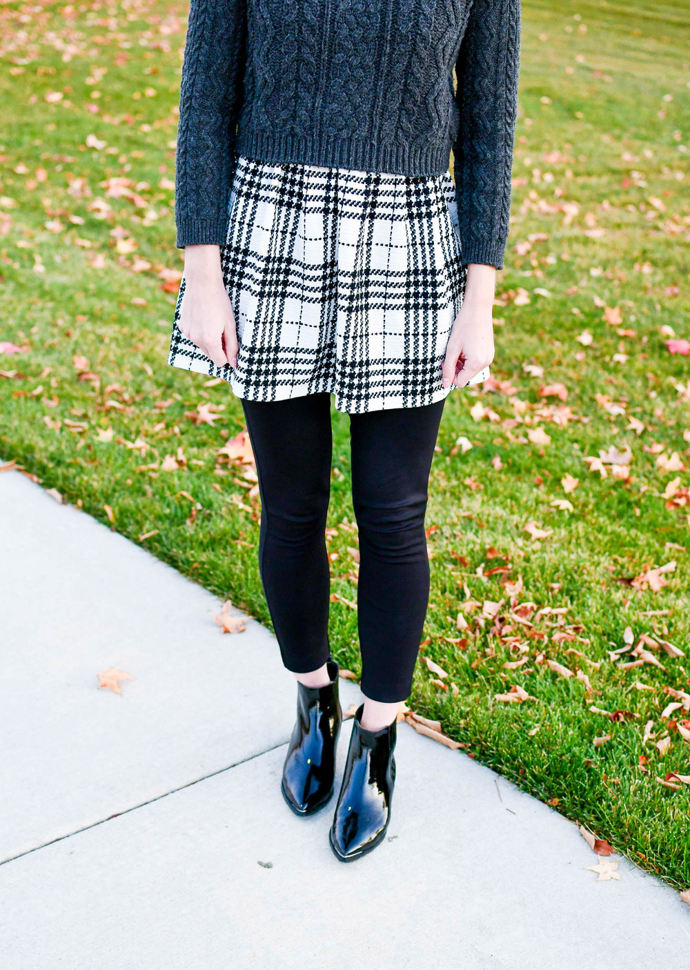 Plaid dress outfit with ponte pants — Cotton Cashmere Cat Hair