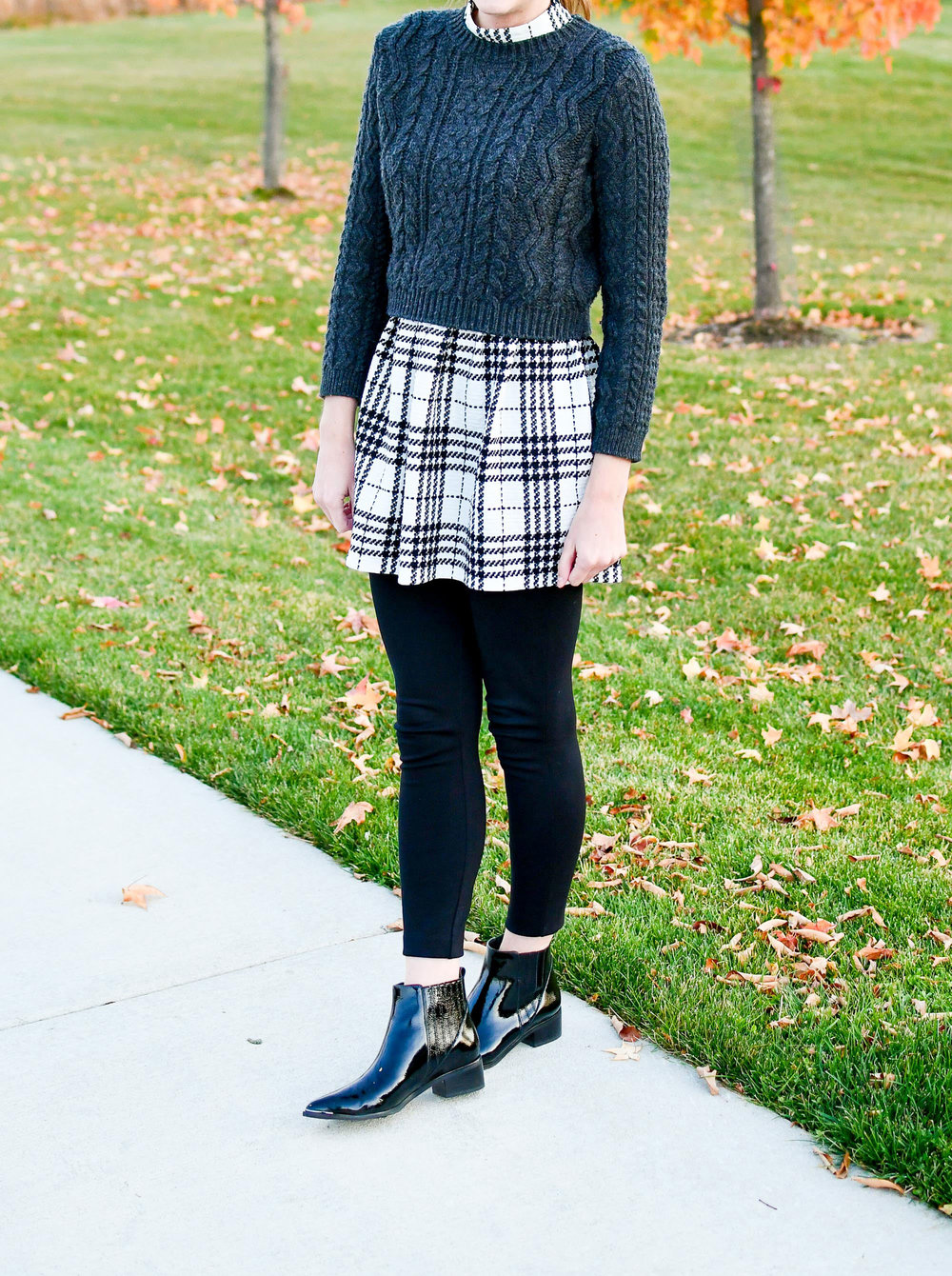 Black patent chelsea boots with plaid dress — Cotton Cashmere Cat Hair