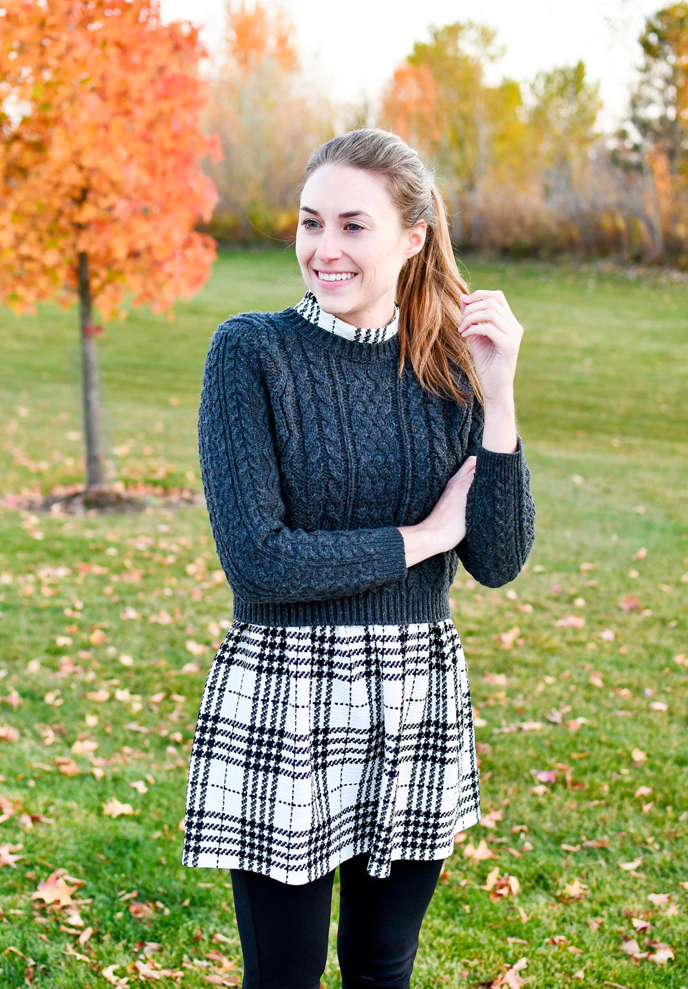 Cropped sweater and plaid dress outfit — Cotton Cashmere Cat Hair