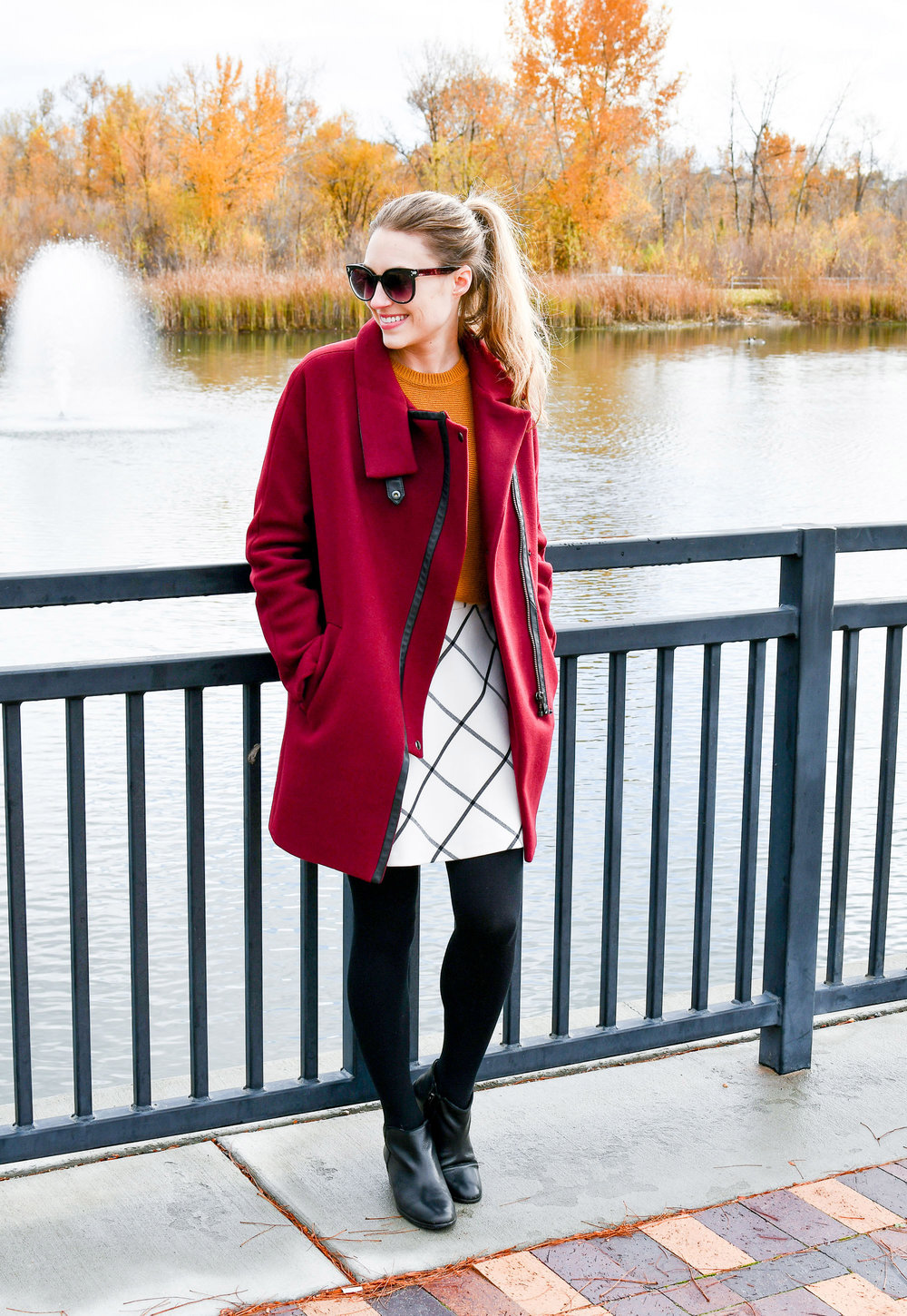 Madewell City Grid coat outfit with windowpane skirt — Cotton Cashmere Cat Hair