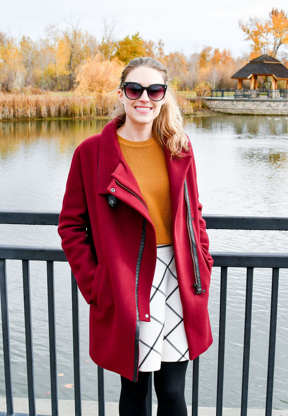 Burgundy coat fall outfit with gold sweater — Cotton Cashmere Cat Hair