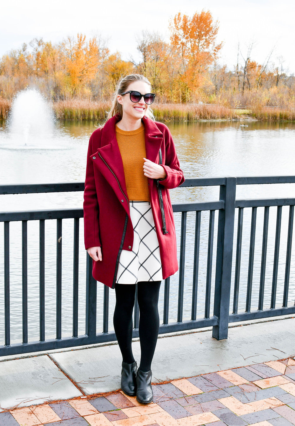Burgundy and gold fall outfit — Cotton Cashmere Cat Hair