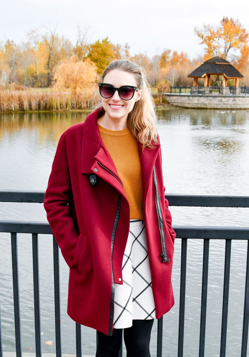 Burgundy coat and gold sweater fall outfit — Cotton Cashmere Cat Hair