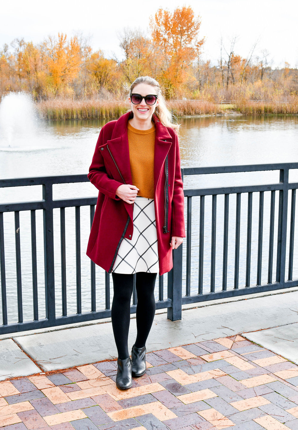 Gold sweater fall outfit with windowpane skirt — Cotton Cashmere Cat Hair