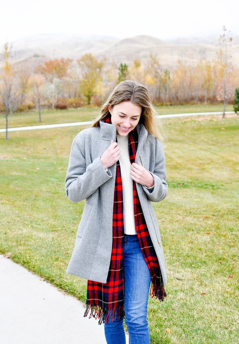 J.Crew Factory City coat fall outfit — Cotton Cashmere Cat Hair