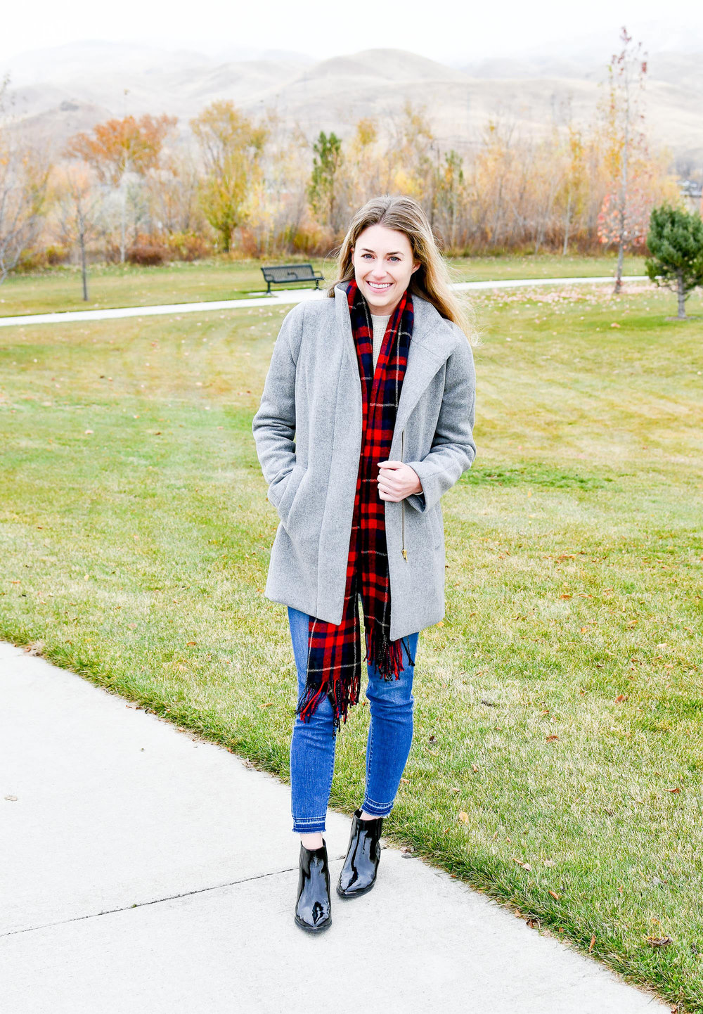Fall outfit with grey coat and red plaid scarf — Cotton Cashmere Cat Hair